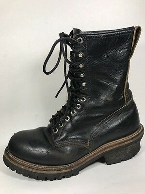 Red Wing Black Leather Steel Toe Logger Boots Men's Sz 10 M