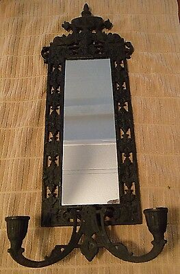 Vintage Cast Iron Black Wall Mirror Sconce Candle Holder Ornate Asian Dolphins