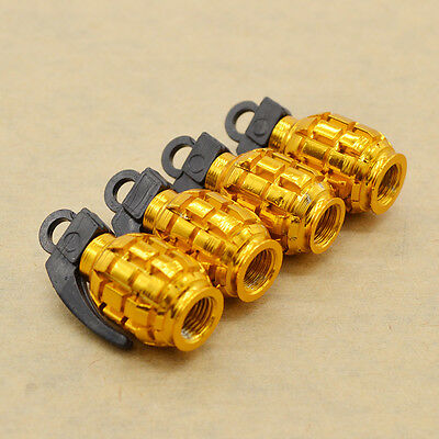4X Gold Grenade Bomb Exterior Wheel Tyre Tire Valve Stems Air Dust Cover Caps