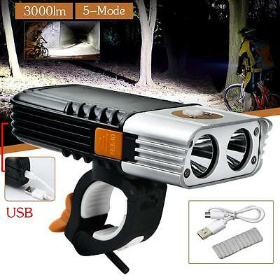 3000LM USB LED Rechargeable Head light Bicycle Tail / Rear Light Bike Torch