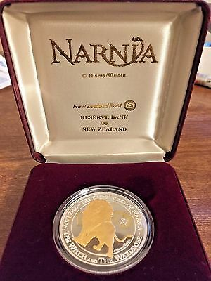 Rare Narnia Aslan Lion Coin New Zealand 2006 Proof 1 oz Silver w/ Gold plate