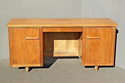 Vintage Danish Modern Style Two Cabinet Solid Wood WRITING DESK