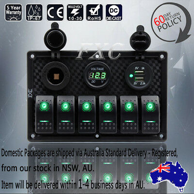 6 Gang Green LED Switch Panel Dual USB Waterproof Power Socket Car Marine Boat