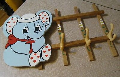 """Vintage Beautiful Hand Painted Elephant Wall Coat Hanger Clothes Rack 12"""" X 21"""""""