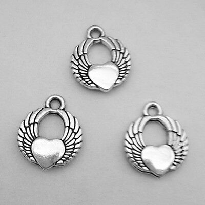 Jewelry Findings,Charms,Pendants, Ancient Silver Heart 12pcs