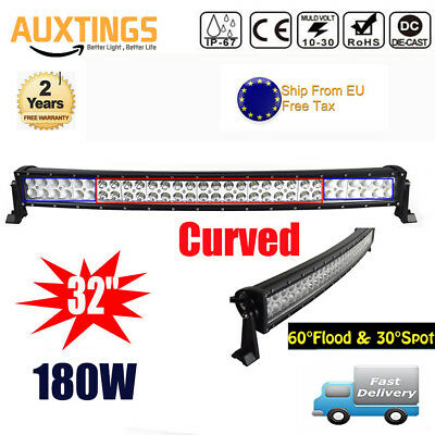 32inch Curved 180W LED Work Light Bar Combo OffRoad SUV Lamp Car Light 4WD Truck