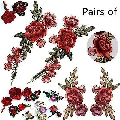 2X Rose Flower Patch Embroidered Sew on Floral Collar Dress Craft Applique Badge