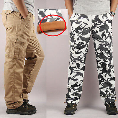 Mens Casual Tactical Army Plus Size Fleece Trousers Hiking Hunting Cargo Pants