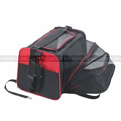 Expandable Pet Dog Cat Car Carrier Bag Booster With Mesh Door Top+Fasten Belt