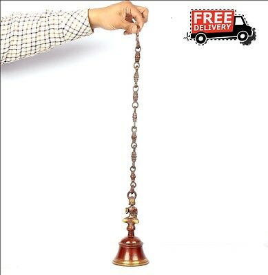 Indian Antique Look Hand Crafted Engraved Big Brass Hanging Bell 6425