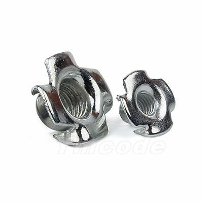 Qty50 M3M4M5M6M8Captive T Nuts Pronged Tee Blind Nuts Zinc Plated Carbon Steel