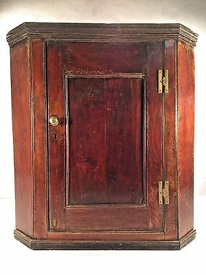 Antique 18th Century Hanging Wall Cupboard Corner Cabinet Pine? English?