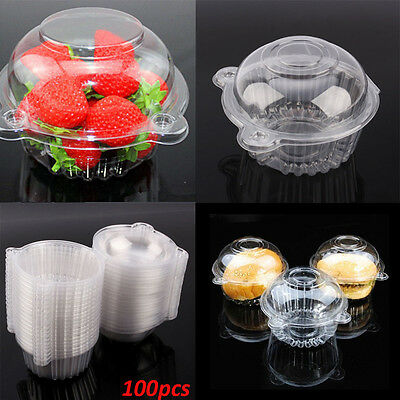 Sale Lots 100 Single Clear Plastic Case Muffin Pods Dome Holder Cup Cake Boxes E