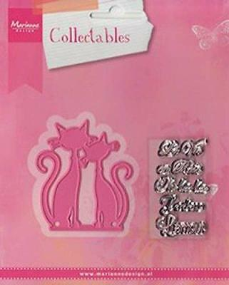 Marianne design collectables die & stamp set French cats l'amour col1344