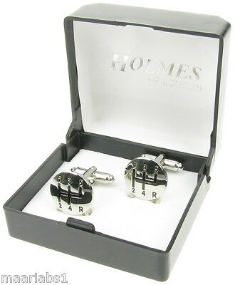 Novelty Car Truck Gear Stick Cufflinks Mens Silver Shirt Xmas Free Box New Uk