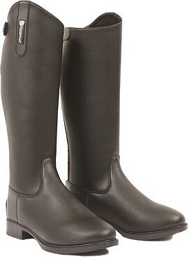 Horseware Childrens LONG Tall Leather Look RIDING Boots Zip Back Black