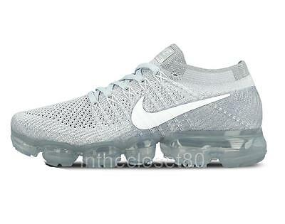 Nike Air VaporMax Flyknit Pure Platinum Wolf Grey White 849558 004 Mens Trainers
