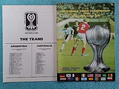 1981 - Official Fifa World Youth Championship Tournament Programme + Teamsheet
