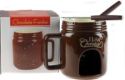 Chocolate Fondue Mug Gift Set - Brown