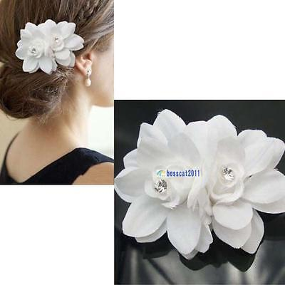 Beauteous Hair Flower Clip Pin Bridal Wedding Prom Party for Girl Women White FA