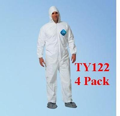 DuPont TY122S Disposable Tyvek Coverall, Hood, Boots, 1414 Size LGE - 4 PACK