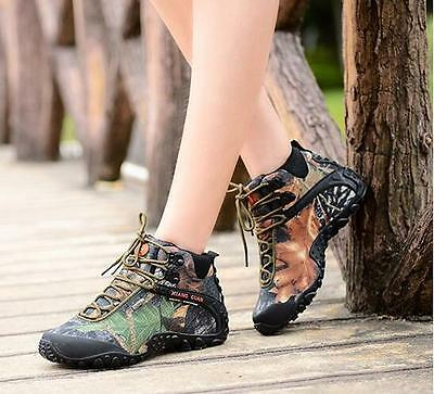 7670 Outdoor Camo Waterproof Shoes Women's Hiking Camping Climbing Ankle Boots