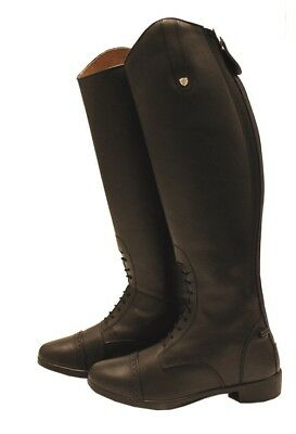 Horseware Ladies LONG Tall LEATHER Lace Elasticated Zip RIDING Boots Black/Brown