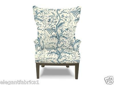 Brunschwig & Fils Bird And Thistle Toile Fabric 10 Yards Blue