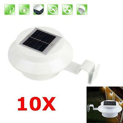 Solar Powered 3 LED Fence Gutter Light Outdoor Garden Yard Wall Pathway Lamp FA