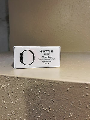 New Apple Watch Series 1 38mm Space Gray Aluminum Case Black Sport Band