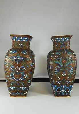 Fine Pair Of Old Chinese Closionne Vases With very intricate enamelling