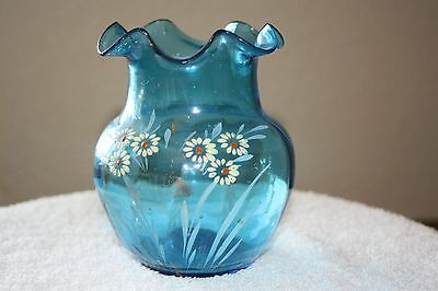 Antique Victorian Enameled Blue Glass Vase Floral Hand Painted Ruffled