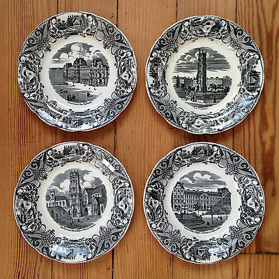 4 ASSIETTES CHOISY LE ROI HB décor de PARIS