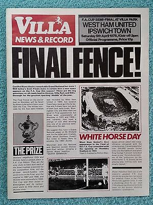 1975 - FA CUP SEMI FINAL PROGRAMME - WEST HAM v IPSWICH TOWN - V.G CONDITION