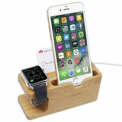Iphone Apple Iwatch Charging Dock Holder Station phone Bamboo Stand Wood New