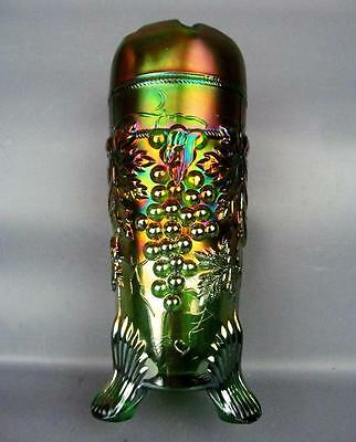 CARNIVAL GLASS - NORTHWOOD GRAPE & CABLE GREEN Hatpin Holder - GREAT COLOR 3232
