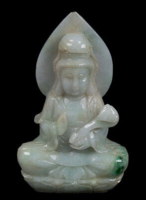 China 20. Jh. Figur -A Chinese Jade / Jadeite Figure of Guanyin - Chinois Cinese