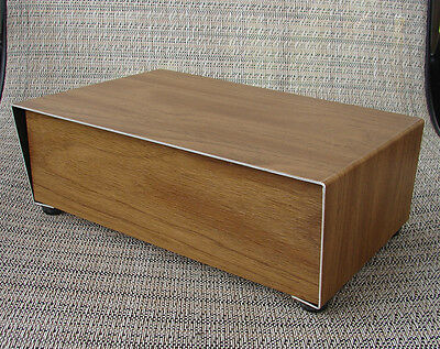 VINTAGE! Metal woodgrain DIY electronic project box, case, cabinet 225x137x74mm