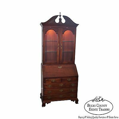Stickley Solid Mahogany Chippendale Style Secretary Desk