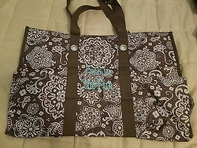 Thirty One 31 SUPER ORGANIZING Utility Tote- Woodblock Floral Pattern RETIRED
