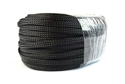 "1/4"" 100Ft Braided Expandable Sleeving Flex Harness Loom  Wire Cover Black"