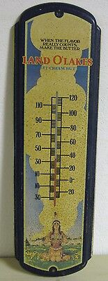 Land O' Lakes Butter Litho Tin Thermometer Sign Neat Old Dairy Country Store Gas