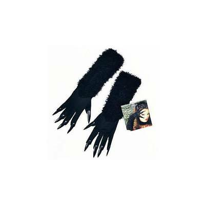 Halloween Cat Woman Gloves Black Furry and Attached Claws Ladies Fancy Dress