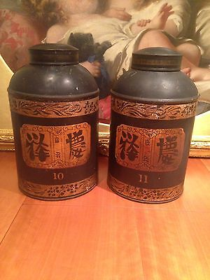Pair Of Large Antique 19th Century Chinese Tea Canisters.