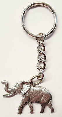 Elephant Keychain Silver Pewter Key Chain Ring