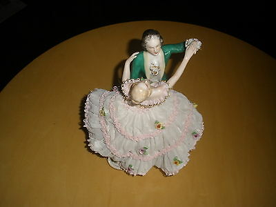 DRESDEN Frankenthal Lace Couple Lady Man Hand Painted Germany Antique Figurine