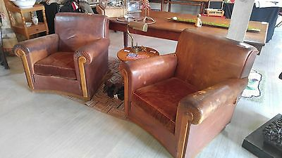 Pair of Authentic Antique Vintage Cognac Leather Paris Club Chairs 1930s