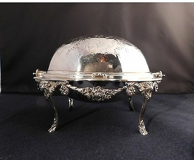 Antique Silver Plated Revolving Roll Top Butter Caviar Dome Server late 1800s