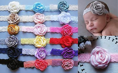 Baby Girls Burned Edge Satin Flower Soft Lace Hairband Headbands Hair bands