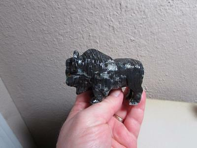 Buffalo (Bison),  Hand carved Marble from the Andes. Multi Hued Unique Buffalo